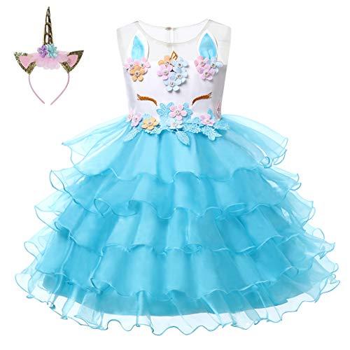 LZH Girls Unicorn Costume Dress Flower Princess Birthday Party Pageant Dress