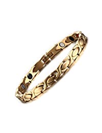 Titanium Stainless Steel Magnetic Therapy Bracelet for Women's , Gold
