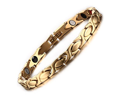 Gold Magnetic Bracelets - Magnetic Therapy Bracelet for Women Titanium Stainless Steel Magnet Link Pain Relief for Arthritis and Carpal Tunnel Gold