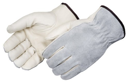 Liberty 6447 Standard Grain Cowhide Leather Economy Driver Glove with Gray Split Leather Back, Large (Pack of ()