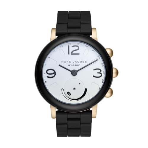 Marc Jacobs Women's Riley Aluminum and Silicone Hybrid Smartwatch, Color: Gold-Tone, Black (Model: - Jacobs Watches Black Women Marc