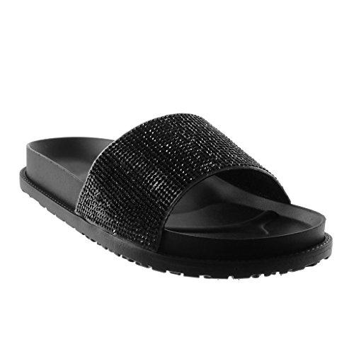 Angkorly Damen Schuhe Mule Sandalen - Slip-On - Step - Strass Flache Ferse 3 cm Schwarz