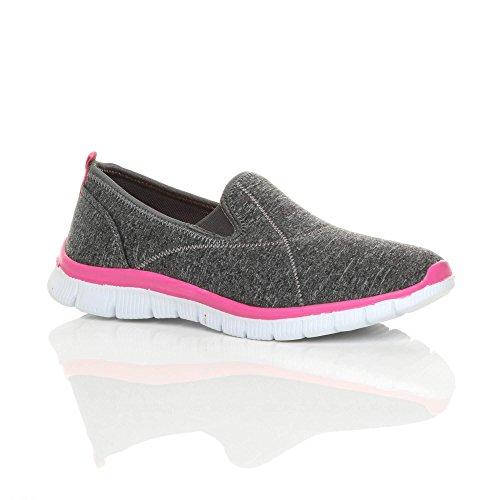 Ajvani Womens Ladies Slip on Comfort Memory Foam Gym Trainers Sneakers Sport Plimsolls Size Grey / Fuchsia weaeiTY6E