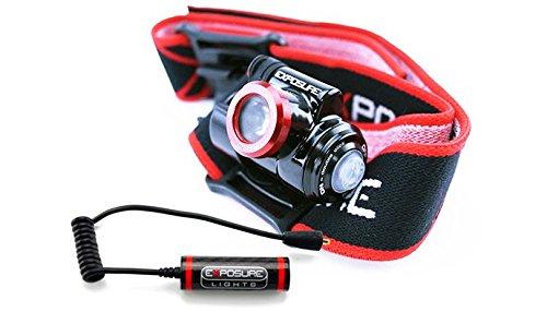 Exposure Lights Stirnleuchte Kompakte wetterfeste Kopfleuchte mit 1700mAh Zusatzbatterie, Black, 5060369150988