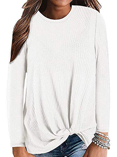 Century Star Women's Long Sleeve Blouse Twist Knot Waffle Knit Tunic Shirts Casual Loose Tops 02 White X-Large (Best Women's Dress Pants For Work)