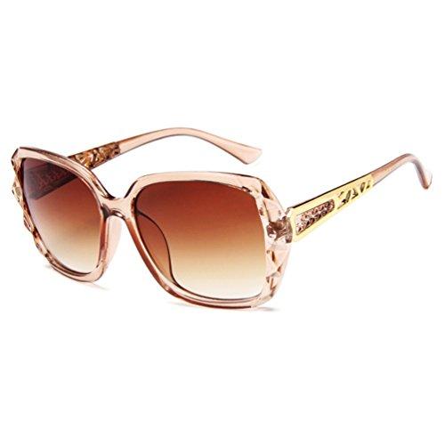 de Gafas Mujer Unisex Eyewear Club Sol Grandes Oversized Hombres Sunglasses LINNUO Marrón Retro w6BqxSE