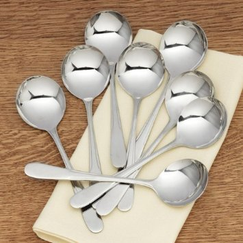 RSVP Monty's Stainless Steel Soup Spoons - Set of 8