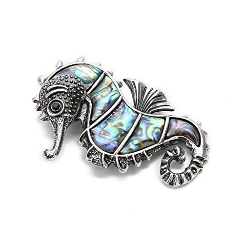 Vintage Seahorse Shaped Shell Charm Natural Sea Paua Abalone Shell Pendant for Women Men DIY Necklace Jewelry Accessories