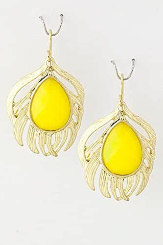 TRENDY FASHION JEWELRY JEWELED FEATHER EARRINGS BY FASHION DESTINATION