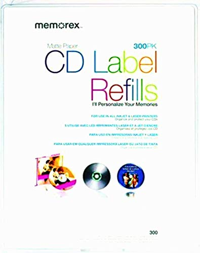 NEW CD/DVD White Matte Labels- 300 (Blank Media) (Memorex White Cd Labels Matte Finish 300 Count)
