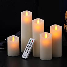 """Ry-king 3"""" 4"""" 5"""" 6"""" 7"""" Set of 5 Classic Pillar Wax Flameless LED Candles with Timer & Remote Control, Batteries Included, Ivory Color"""