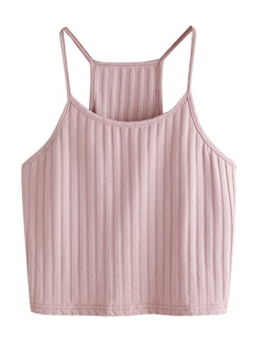 - SheIn Women's Summer Basic Sexy Strappy Sleeveless Racerback Crop Top Large Pink