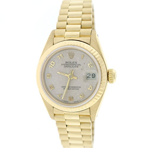 Rolex President Datejust Ladies 18K Gold 26MM Factory Jubilee Dial Watch 69178