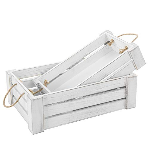 MyGift Vintage White Wood Nesting Crates with Rope Handles, Set of 2