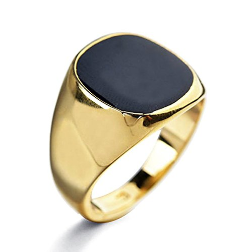 [Star Jewelry black Enamel Yellow Gold Filled Ring for woman and men size 6-14] (Yellow Gold Costume Jewelry)