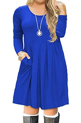 VISLILY Plus Size Long Sundress Crewneck Loose Casual Dress for Women Royal Blue 24W