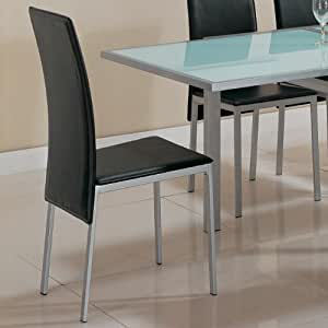 dining chairs black bonded silver metal finish set of 4 chairs