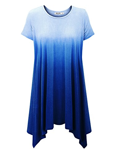 - WT1142 Womens Ombre Short Sleeve Oversized Side Panel Tunic Top XXXL ROYAL_BRITE