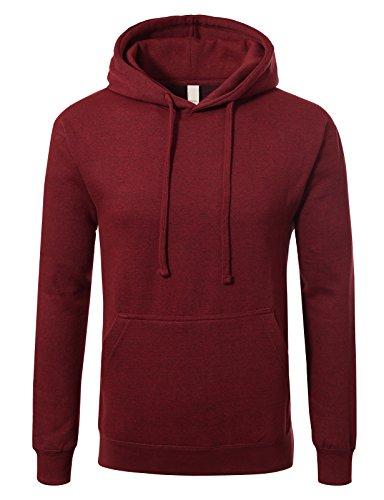 JD Apparel Men's Premium Heavyweight Pullover Hoodie Sweatshirt 2XL Heather Cranberry