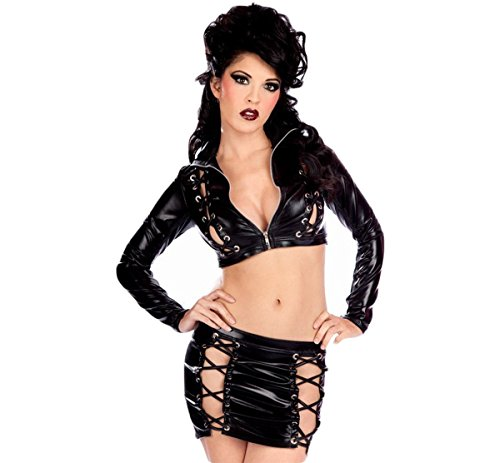 Toxic Dance Costume (Sexy Outfit Women's Gothic Exotic Costumes Black Toxic Lace-Up Mini Skirt and Top)