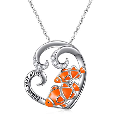 (ALPHM S925 Sterling Silver Fish Love Heart Pendant Necklace for Women Girl Mother 18'' Chain )