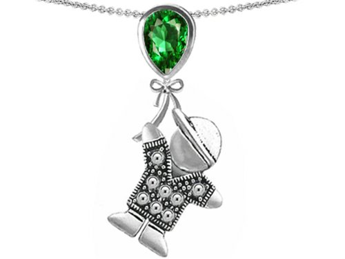 Star K Boy Holding a Balloon Mother May Birth Month Pear Shape Simulated Emerald Pendant Necklace