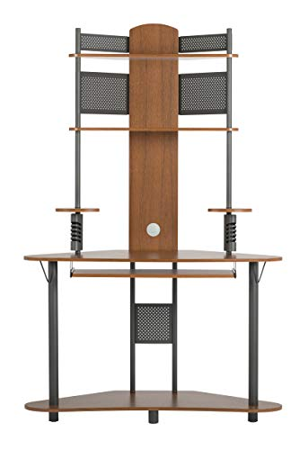 Calico Designs Arch Tower Corner Computer Tower Multipurpose Home Office Computer Writing Desk - Pewter / Teak, 50500