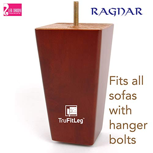 """LEG DADDY TruFitLeg Ragnar - 6"""" Medium Finish Square Tapered Sofa Legs, Fits on All Furniture with Hanger Bolt Attachments (Set of 4)"""