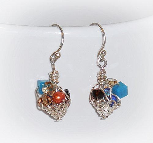 Multi-Color Crystal Pearl Earrings, Made with Swarovski Elements, Freshwater Pearl, Sterling Silver, Bright Basket - Swarovski Crystal Basket Elements