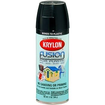 Krylon K02321001 K02321000 Fusion for Plastic Aerosol Spray Paint,  12-Ounce, Gloss Black, 12 Ounce,