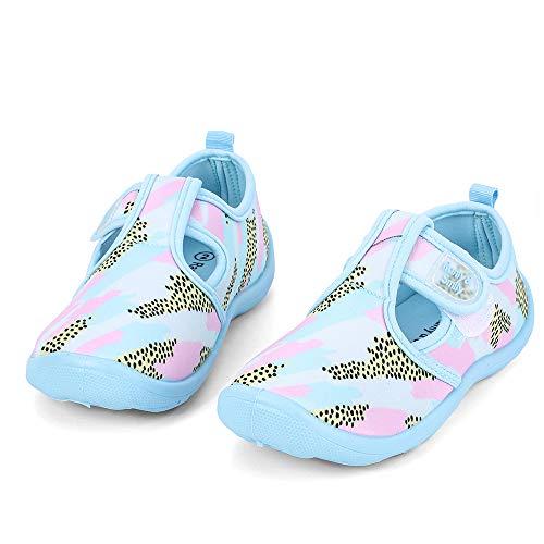 (nerteo Girls Cute Aqua Water Shoes Walking Sneakers Sandals for Beach/Camp/Pool Swim Aqua Sky/Camo/Pink US 2 Little Kid)