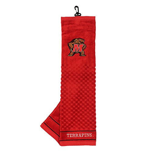 (Team Golf NCAA Maryland Terrapins Embroidered Golf Towel, Checkered Scrubber Design, Embroidered Logo)