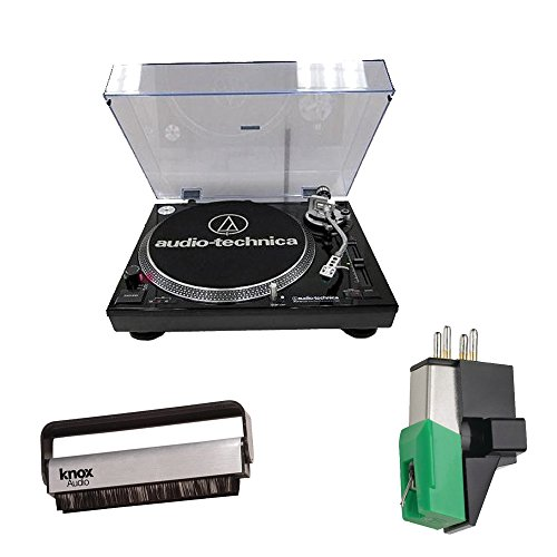 Audio Technica AT-LP120-USB Direct-Drive Professional Turntable (Black) w/ Knox Carbon Fiber Brush Cleaner & Additional AT95E Cartridge by Audio-Technica