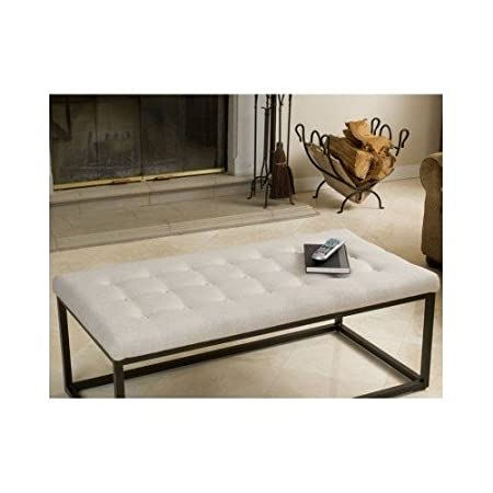 Amazon.com: Coffee Table Ottoman Bench Tufted Ottomans And Footstools Beige  Stool Furniture: Kitchen U0026 Dining