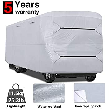 XGear Outdoors Class A RV Cover with 3-Ply Roof for Max Weather Protection Grey Fits 33-37 Class A Motorhome