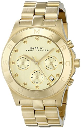 Marc Jacobs MBM3101 Ladies Gold Blade Chronograph Watch