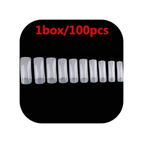 100pcs Fake Nail Half-cover Nail Tips Natural/transparent Acrylic UV Gel,Half-stick 100pcs
