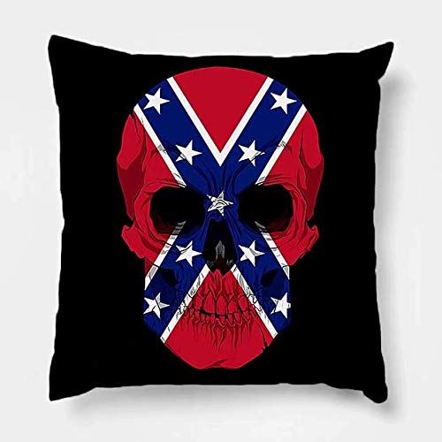 (Pillow Covers Rebel Skull Cotton Line Decorative Throw Pillow Case Cushion Cover 18 x 18 Inch for Sofa)