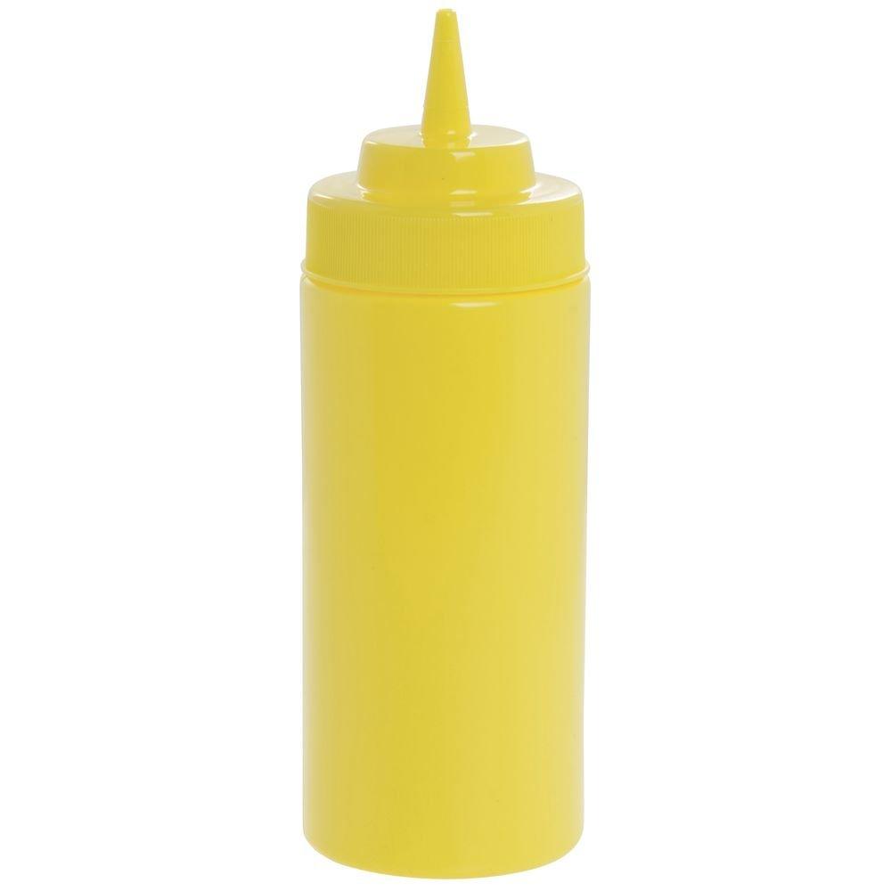 Tablecraft 16 oz Yellow Polyethylene Widemouth Squeeze Bottle - 2 3/4''Dia x 8''H