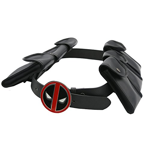 Hotwinds X Cosplay Men DP Belt with Metal Buckle & 6 Pockets Halloween Costume - Deadpool Adult Costumes