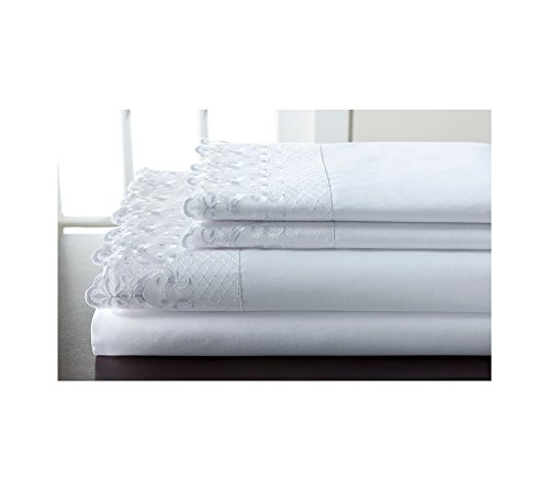 (Elite Home Products, Inc. Hotel Lace Microfiber Sheet Set White King)