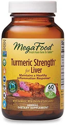 MegaFood, Turmeric Strength for Liver, Maintains a Healthy Inflammation Response, Vitamin and Herbal Dietary Supplement, Gluten Free, Vegan, 60 Tablets (30 Servings) (FFP)