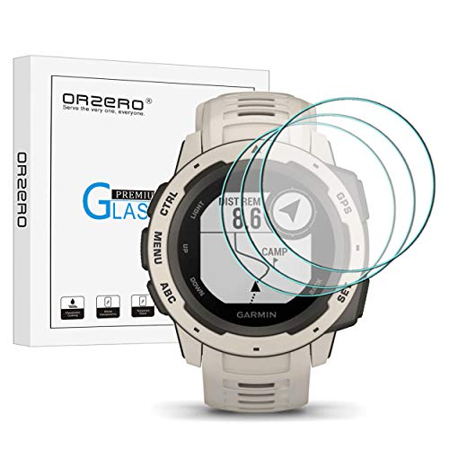 (3 Pack) Orzero Compatible for Garmin Instinct Smartwatch Tempered Glass Screen Protector, 2.5D Arc Edges 9 Hardness HD Anti-Scratch Bubble-Free (Lifetime Replacement Warranty)