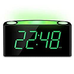 Mesqool Alarm Clock with 12/24 Hours, 7-Color Night Light, 7 LED Display with Large Digits, Muti-Level Dimmer, Double USB Chargers, Adjustable Alarm Volume, AC Powered and Battery Backup Settings