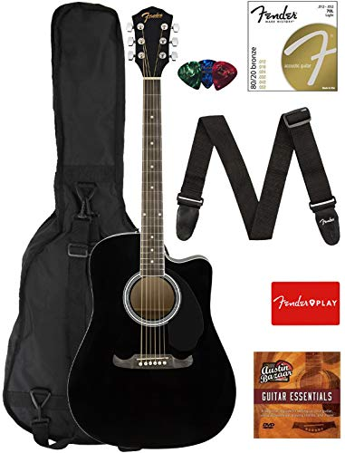 Fender FA-125CE Dreadnought Cutaway Acoustic-Electric Guitar - Black Bundle with Gig Bag, Strap, Strings, Picks, Fender Play Online Lessons, and Austin Bazaar Instructional DVD (Guitars Electric Acoustic)