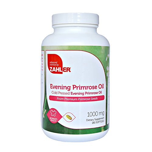 Zahler Evening Primrose Oil, Cold Pressed GLA Rich Supplement, Alleviates Symptoms of PMS and Menopause, Certified Kosher 180 Softgels