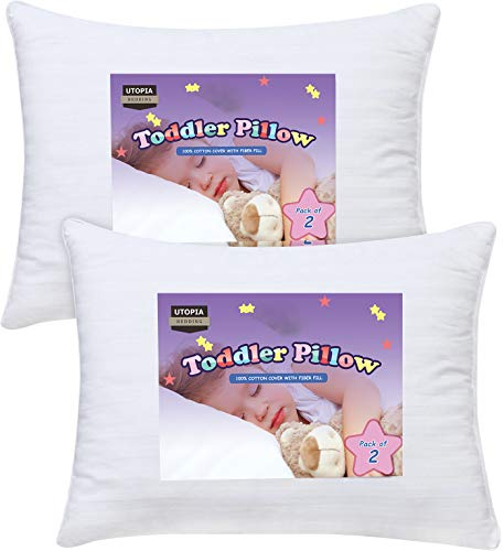 (Utopia Bedding Toddler Pillow - Pack of 2 Baby Pillows for Sleeping - 100% Cotton Cover - Kids Pillows, Snow White - 13 x 18 inches)