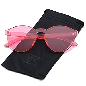 LKEYE-Fashion Party Rimless Sunglasses Transparent Candy Color Eyewear LK1737 Pink Frame