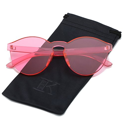 LKEYE-Fashion Party Rimless Sunglasses Transparent Candy Color Eyewear LK1737 Pink - Glasses Colorful