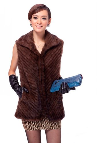 (Queenshiny Women's 100% Real Knitted Mink Fur Vest with Mink Collar-Brown-S(4-6) )